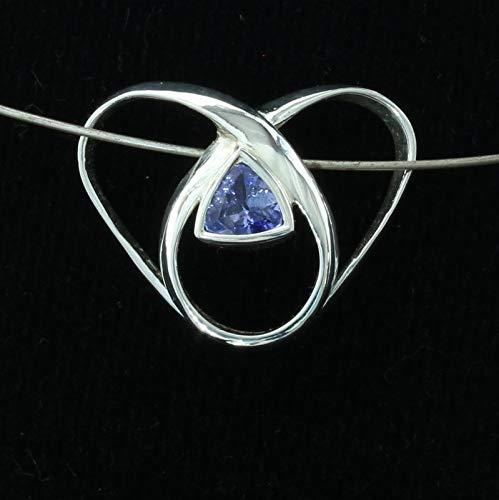 Blue Purple Tanzanite Trillion 925 Silver Infinity Pendant Eternity Design 95