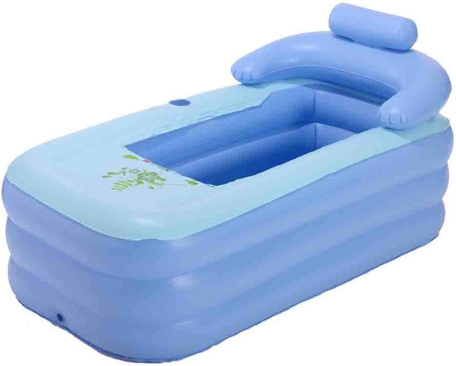 Bañera Inflable Rectangular Adulto Plegable Hogar Espacio Grande Bebé Piscina Azul (Fondo de Burbuja) con Bomba de pie: Amazon.es: Deportes y aire libre