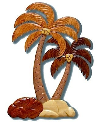 Wood Tree Ornament (Wood Ornament of Two Palm Trees (Tall and Short))