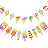2 Pcs Ice Cream Banner Popsicle Banner, Popsicle Garland Pastel for School Summer Kids Party Baby Shower Nursery Summer Luau Party Ice Cream Party Birthday Party Favor Decoration Supplies, Set of 18
