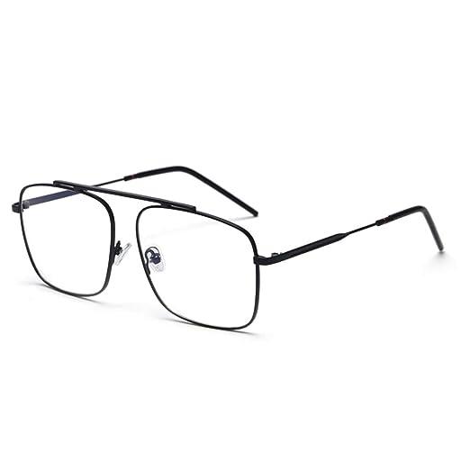 126f6a5bfc3 Big Eye Glasses Square Frame Men Metal Myopia Optical Eyeglasses Frame Women  (black frame)