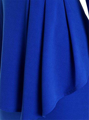 Femminile Peplum Blu Midi Moda Affari Lunga Vestito Promenade Manica Bodycon Domple Da qAz04w1
