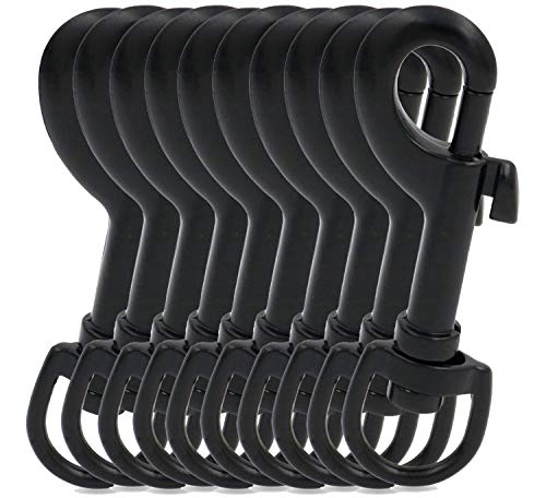 BIKICOCO 3/5'' Swivel Bolt Snap Hook Lobster Claw Clasp Trigger Spring Loaded Clip, D-Ring Ended, for Keys, Key Chains, Tags and Lanyards, Black - Pack of 10