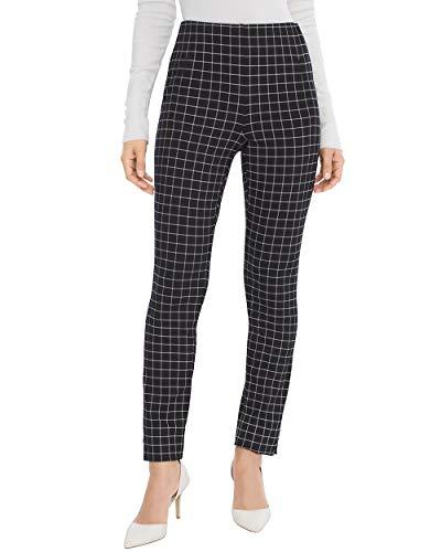 Trouser Pant Windowpane - Chico's Women's So Slimming Juliet Windowpane-Print Pants Size 6 S (0.5 REG) Black/White