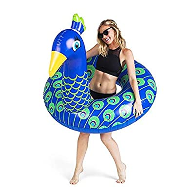 BigMouth Inc Giant Peacock Pool Float, 4 Foot Wide Innertube, Funny Inflatable Vinyl Summer Pool or Beach Toy, Patch Kit Included: Toys & Games