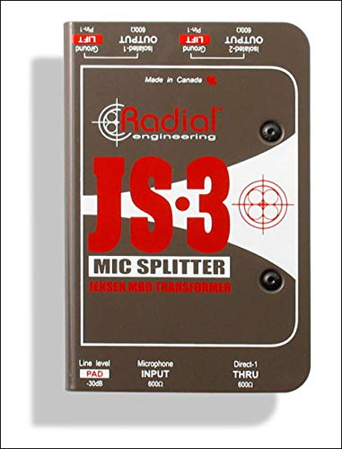 (Radial Engineering JS3 Passive Microphone Splitter Direct Box)