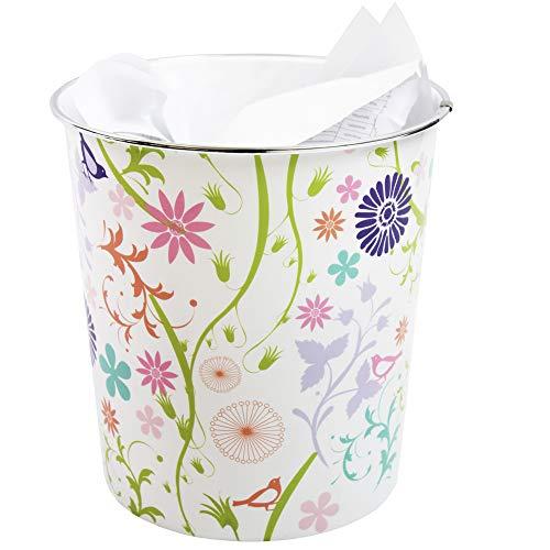 JVL plasticos Modernos Stripes/Spots/circulos Retro de la Flor Que se arrastra de la Flor de residuos de Papel Bin Cesta, Multicolor