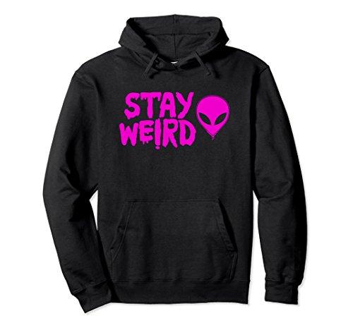Unisex Trippy Alien Hoodie - Stay Weird UFO Pullover Sweatshirt Large Black