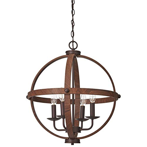 Stone Beam Rustic Spherical Chandelier, 22.5 H, With Bulb, Oil Rubbed Bronze Wood Finish