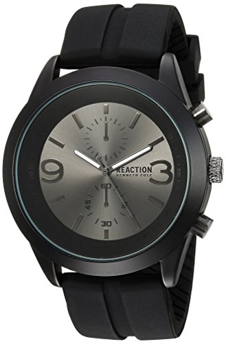 Kenneth Cole REACTION Men's 'Sport' Quartz Metal and Silicone Casual Watch, Color:Black (Model: 10030939)