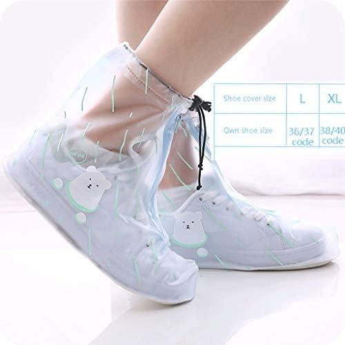 レインブーツ- 靴カバー滑り止め厚手の耐摩耗性のある男性と女性の大人の靴カバー防水 (Color : D, Size : L)