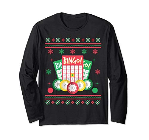 Bingo Card Game Ugly Christmas Long Sleeve Shirt
