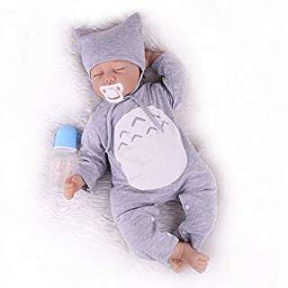 CHAREX Reborn Baby Dolls 22 inch Lifelike Sleeping Baby Doll Soft Silicone Weighted Realistic Newborn Dolls Toy Gift Set