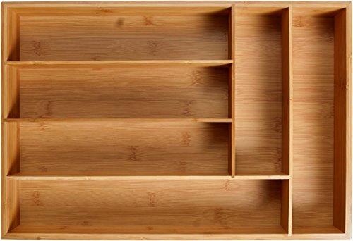 Large Wood Drawer - KD Organizers 6-Slot Bamboo Drawer Organizer: 17.75 x 12 x 2.5 in. Tray for Large Drawers