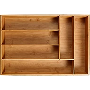 KD Organizers 6-Slot Bamboo Drawer Organizer: 17.75 x 12 x 2.5 in. Tray for Large Drawers