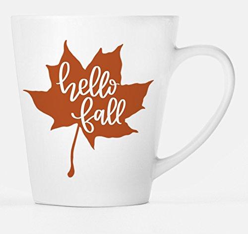 Hello Fall Mug, Fall Coffee or Latte Mug, Fall Decor, Custom Hand-lettered Graphics, Fall Leaf Design