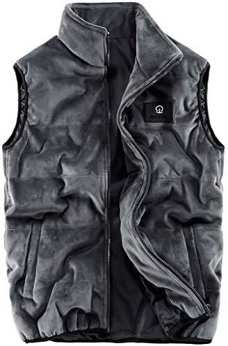 LF- コットンベスト冬のメンズ厚手のベストノースリーブジャケット大型マルチポケットアウトドアベストショルダーコート プラスベルベット (Color : Gray, Size : L)