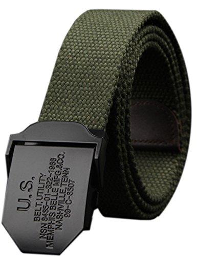 Menschwear Men's Adjustable Canvas Belt Stainless Steel Buckle Military Waistband GREEN