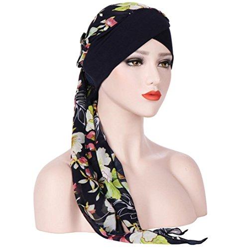 Price comparison product image Women Chemo Cap India Muslim Stretch Turban Floral Hat Tie-dye Chiffon Head Scarf Wrap (Free Size,  Green)