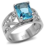 Women's Stainless Steel Synthetic Aquamarine Glass Decorated Leaf Band Ring