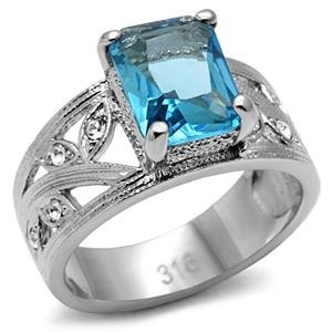 Women's Stainless Steel Synthetic Aquamarine Glass Decorated Leaf Band Ring by Eternal Sparkles