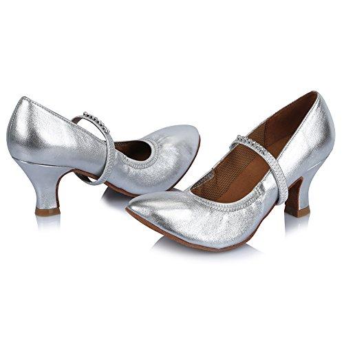Cuero Baile de de Baile Danza Plateado HIPPOSEUS Diamante Latinos Zapatos Modelo de el Zapatos salón Mujeres con de de imitación Zapatos ESAF305 la de nq0pvTH