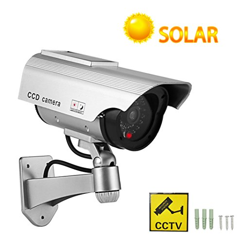 YSUCAU Solar Powered Bullet Dummy Fake Surveillance Security CCTV Dome Camera With Realistic Simulated LEDs Warning Security Alert Sticker Decals Outdoor/Indoor Use for Homes & Business by YSUCAU