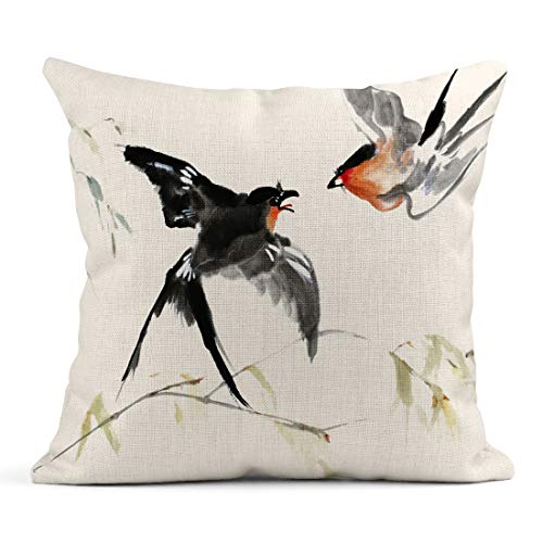 - Emvency Decor Flax Throw Pillow Covers Case Original Watercolor Painting of Red Breasted Birds and Branches in Asian Style 18