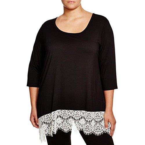 Karen Kane Women's Plus-Size Asymmetrical Lace Hem Top, Black, 1X