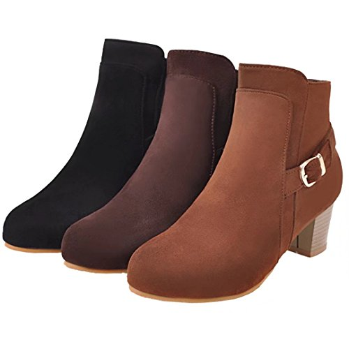 Black Toe Ankle Zipper Heel Block Buckle Boots Booties Women's Round AIYOUMEI Side Winter with w4xqOnzpW