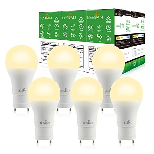 (BESLAM Dimmable 10W LED Bulbs A19 LED Light Bulbs GU24 Base, 60w Equivalent, 810 Lumens, 2700K Warm White, 220° Beam Angle, UL Listed & Energy Star, 2 Year Warranty, 6 Pack)