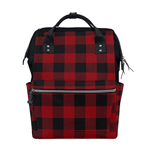 AUUXVA Diaper Backpack Geometric Plaid Patterned Multi-Function Large Capacity Baby Changing Bags Zipper Casual Stylish Travel Backpacks for Mom Dad Baby Care
