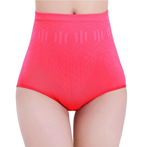 HTHJSCO Sexy High Waist Tummy Control Body Shaper Briefs Slimming Pant, Women's Seamless Firm Control Tummy Slimming Shapewear Panties (Hot Pink)