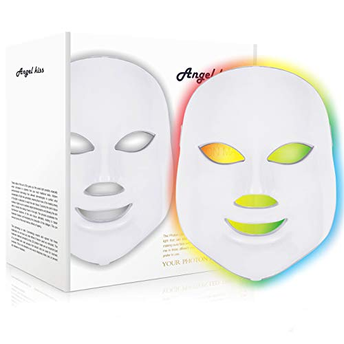 Angel Kiss 7 Color LED Mask - Red Photon Light Skin Rejuvenation Treatment Skin Toning Facial Skin Care Mask - White