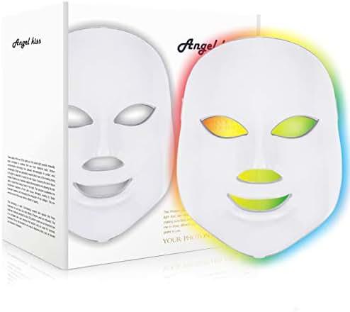Angel Kiss 7 Color LED Mask - Red Photon Light Skin Rejuvenation Treatment Skin Toning Facial Skin Care Mask - White