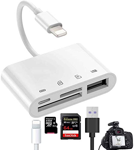 Microware 4 in 1 sd tf Card Reader Compatible iPhone ipad iPod,USB OTG Camera Connection kit sd t Flash Card Reader Work with hubs Keyboards Audio/mid