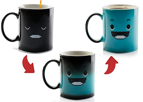 InGwest Home. Morning Coffee Mug. 11 ounce. Changing Color Mug for you and your friend. Ceramic Heat Sensitive Color Changing Coffee Mug. Novelty Heat Sensitive Mug With Funny Smile by InGwest Home (Image #5)