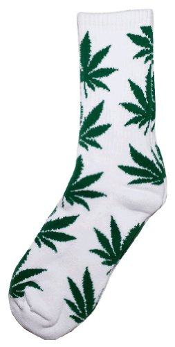 Adult Plantlife Crew Socks One Size White And Green