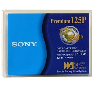 10 pack of Sony Premium 125P DGD125P 4mm 12GB Native / 24GB Compressed Data Storage Cartridge Tape for DDS3 - 125m / 410ft by Sony
