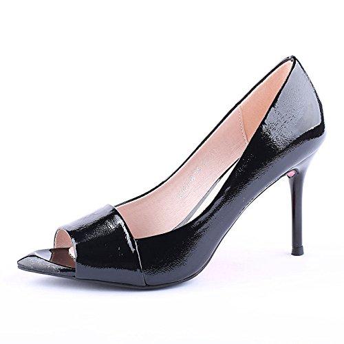 SSBY En La Primavera Nueva De Boca De Pescado 8 5 Tacones Altos Con Una Multa Superficial Boca Zapatos Zapatos De Cuero Sexy Todo El Partido black