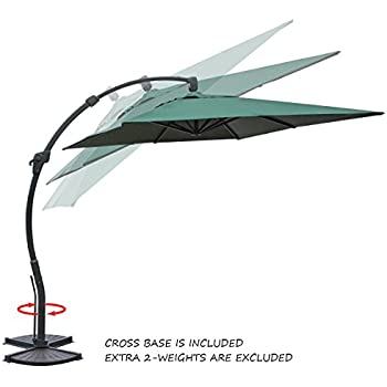 Amazoncom Coolaroo Cantilever Umbrella Round Smoke Garden - Coolaroo 10 foot round cantilever freestanding patio umbrella mocha