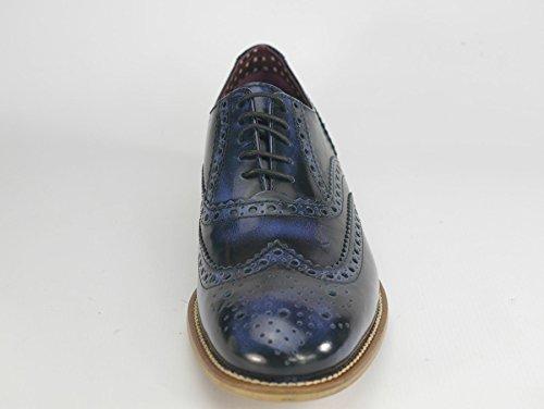 London Brogue-Schnürhalbschuhe Herren Lederschnürer mit Wingtip Formell Abendkleidung Brogue-Schuhe Navy Polished