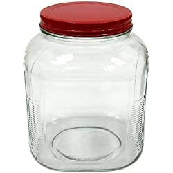 Anchor Hocking 1-Gallon Cracker Jar with Cherry Red Aluminum Lid, Set of 4