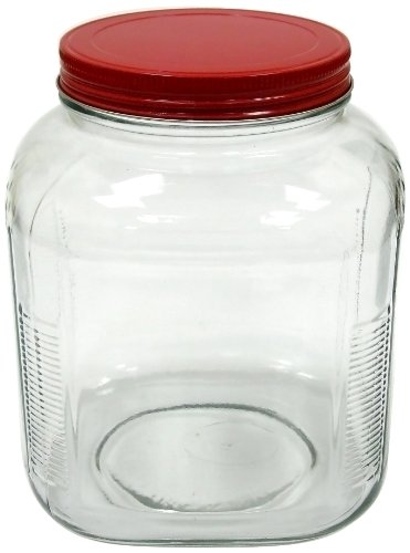 Anchor Hocking 1-Gallon Cracker Jar with Cherry Red Alumi...