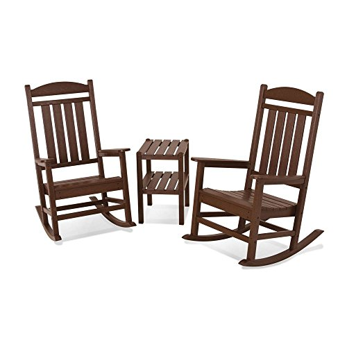 POLYWOOD PWS138-1-MA Presidential 3-Piece Rocker Chair Set, Mahogany