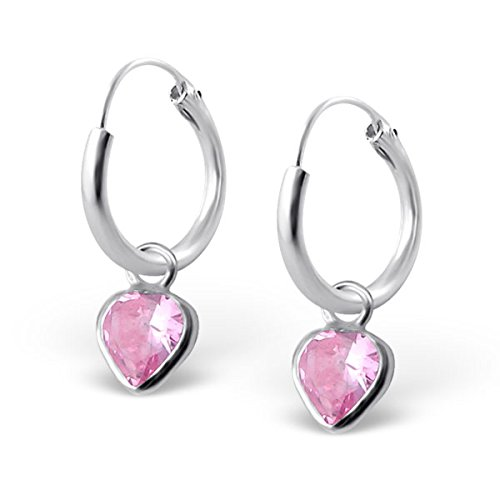 Pro Jewelry .925 Sterling Silver Dangling Tourmaline / Pink Cz Heart on 1/2