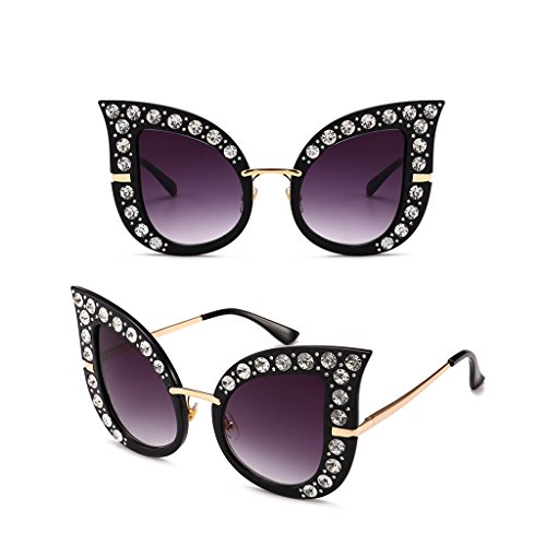 Hukai Women Vintage Retro Cat Eye Sunglasses Rhinestone Outdoor Eyewear Glasses (#9)