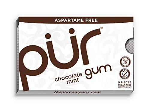 Chocolate Flavored Gum - PUR Gum Aspartame Free Chocolate Mint, 12 Count