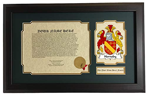 Hornsby Wood - Hornsby - Coat of Arms and Last Name History, 14x22 Inches Matted and Framed