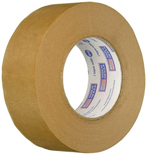 Intertape 9341 1.88in. x 60yds Kraft Paper Flatback Carton Sealing Tape, Natural (12 Pack) ()